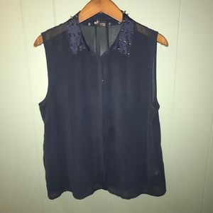 Sparkle and Fade | sheer button down tank w/ studs